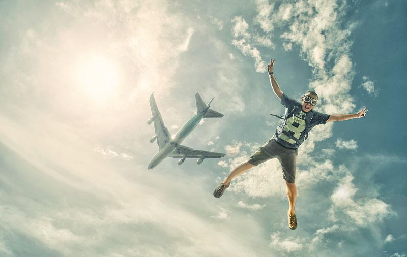 Man skydiving, Jakarta, Indonesia Rudi Yang